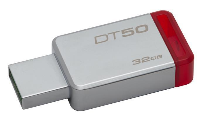 "USB flash disk ""DT50"", stříbrno-červená, 32GB, USB 3.1, KINGSTON"