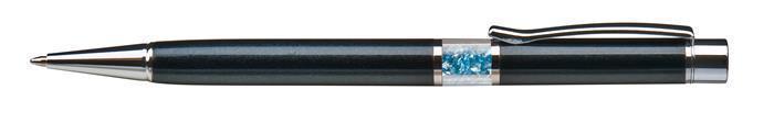 Kuličkové pero s krystaly SWAROVSKI®, černá, ve středu těla s modrými krystaly