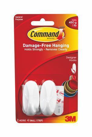 """Plastové přilepovací háčky """"Command"""", malé, oválné, 3M SCOTCH"""