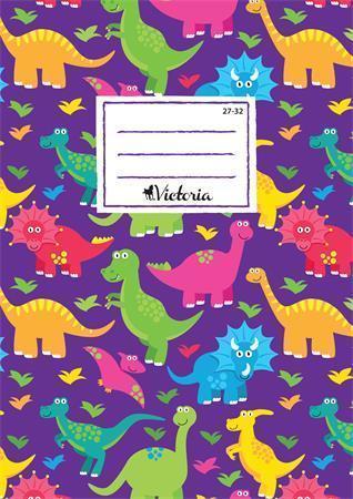 """Sešit  """"Dinosaurus"""", A5, čtverečkovaný, 32 listů, VICTORIA"""