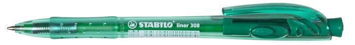 """Kuličkové pero """"Liner 308"""", zelená, 0,3mm, stiskací mechanismus, STABILO"""