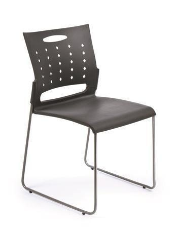 """Konferenční židle """"Simply"""", tmavě šdá, plastový sedák a opěrka, kovový rám, MaYAH Počet kusů v balení: 4"""