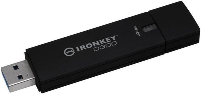 """USB Flash disk """"Ironkey D300"""", 4GB, USB 3.0,  80/12MB/s, šifrovaný, voděodolný, KINGSTON"""