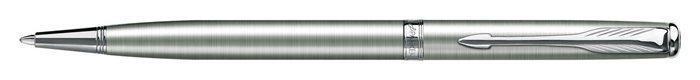 """Kuličkové pero """"Sonnet Slim"""", 0,7 mm, M, otočné, stříbrný klip, tělo z nerezové oceli, PARKER"""