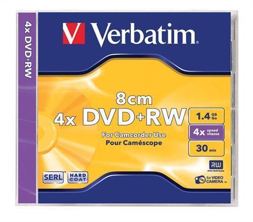 DVD+RW, 8cm, 1,4GB, 4x, Verbatim, jewel box