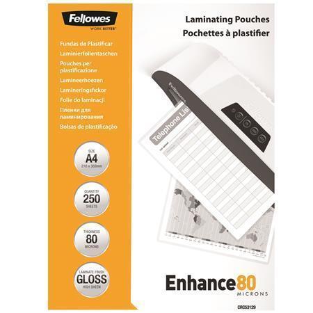 Laminovací fólie, lesklá, 80 micron, A4, FELLOWES