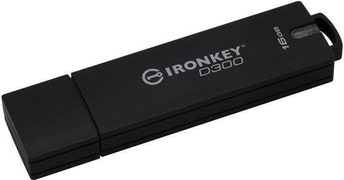 """USB Flash disk """"Ironkey D300"""", 16GB, USB 3.0, 165/22MB/s, šifrovaný, voděodolný, KINGSTON"""