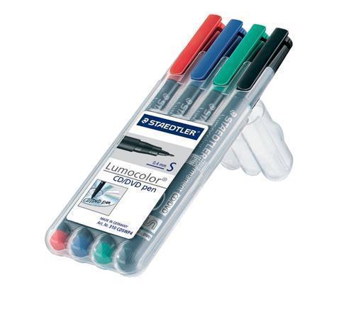 """Permanentní popisovač na CD/DVD """"Lumocolor 310 S"""", 4 různé barvy, 0,4 mm, STAEDTLER"""
