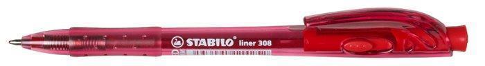 """Kuličkové pero """"Liner 308"""", červená, 0,3mm, stiskací mechanismus, STABILO"""