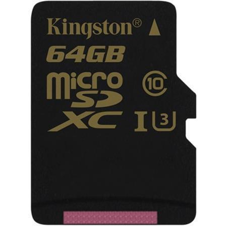 "Paměťová karta microSDXC ""Gold"", 64GB, Class 10/U3, 90/45MB/s, KINGSTON"