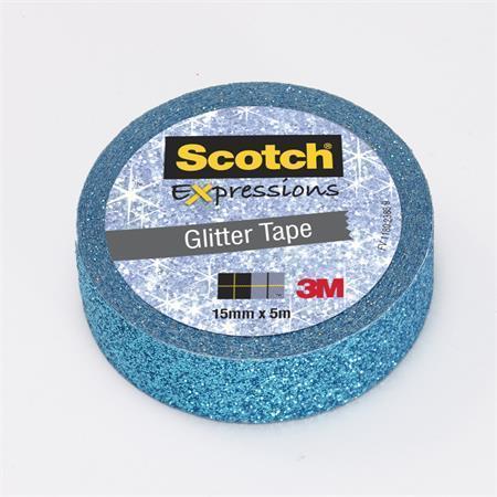 """Lepicí páska """"Expressions"""", modrá, třpytivá, 15 mm x 5 m, 3M SCOTCH"""