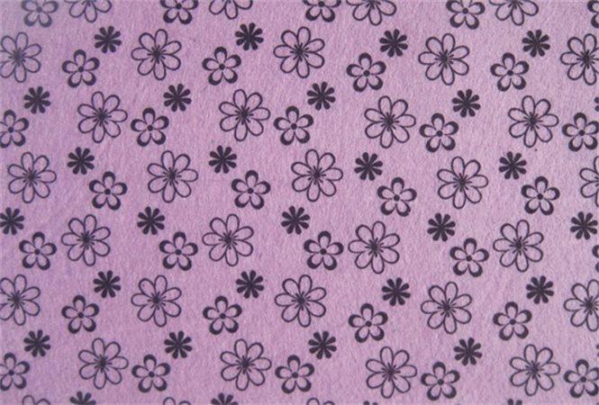 Plst, potisk, vzor květiny, purpurová, A4