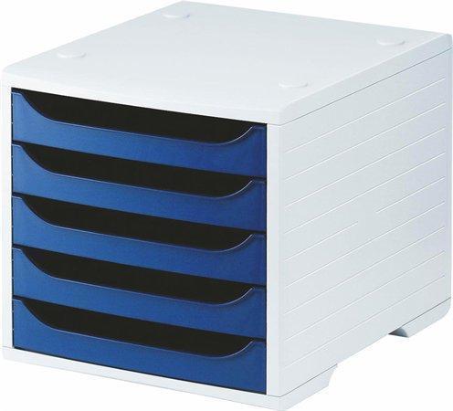 Zásuvkový box, modrá, plastový, 5 zásuvek, 5 STAR
