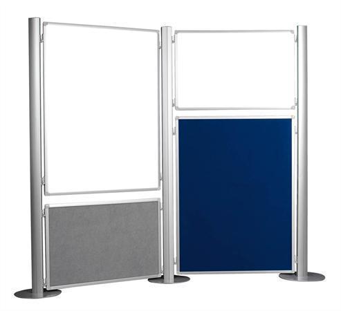 Panel, ke stěnovému systému, oboustranný, textil, šedý/modrý, 90x120cm