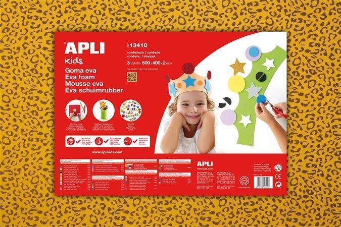 """Pěnová guma """"Eva sheets"""", leopardí motiv, 400x600x2 mm, APLI Počet kusů v balení: 3"""