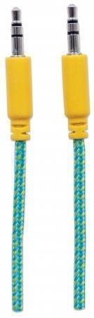 Audio kabel, obmotaný, tyrkysovo-žlutá, 3,5 mm-3,5 mm jack, 1 m, MANHATTAN