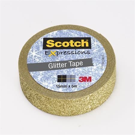 """Lepicí páska """"Expressions"""", zlatá, třpytivá, 15 mm x 5 m, 3M SCOTCH"""