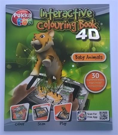 """Interaktivní omalovánky 4D """"Pukka Fun"""", Mláďata, 218x260 mm, PUKKA FUN"""