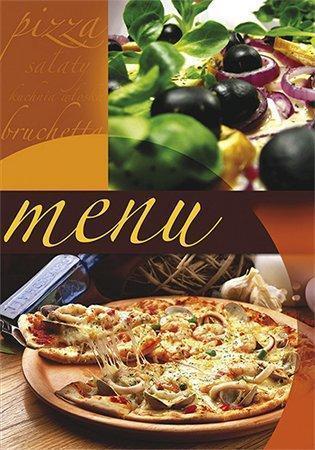 """Desky na jídelní lístek """"Pizza"""", motiv pizza-olivy, A4, PANTA PLAST"""