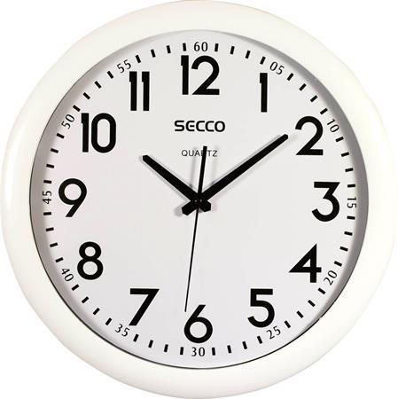 Nástěnné hodiny, bílý rám, 39,5 cm, SECCO