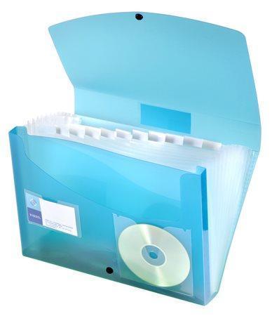 """Aktovka s přihrádkami """"PropyGlass"""", 12 částí, modrá, PP, VIQUEL"""