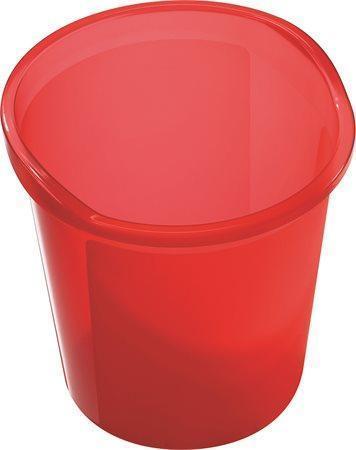Odpadkový koš, červený, průsvitný, 13l, HELIT