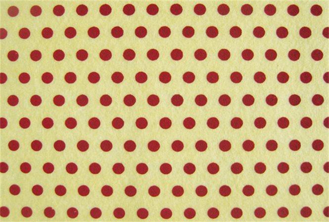 Plst, potisk, vzor puntíky, bordó, A4