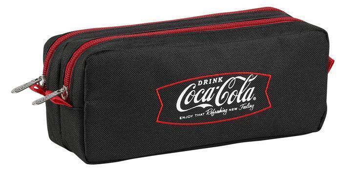 """Penál """"Coca-Cola"""", černá-červená, 2 oddělení se zipy, VIQUEL"""