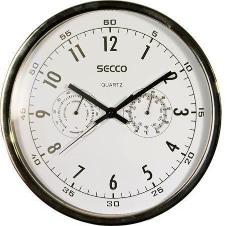 Nástěnné hodiny, chromový rám; vlhkoměr, teploměr, 30,5 cm, SECCO