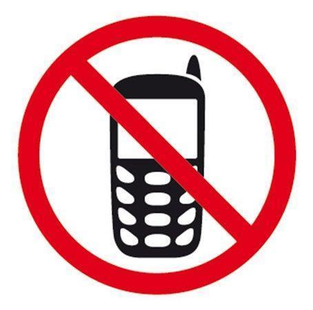 """Samolepící etiketa, """"Zákaz používání mobilních telefonů"""", APLI"""