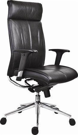 """Manažerská židle """"Chicago 600 Adj"""", černá, kožená, stříbrný kříž"""
