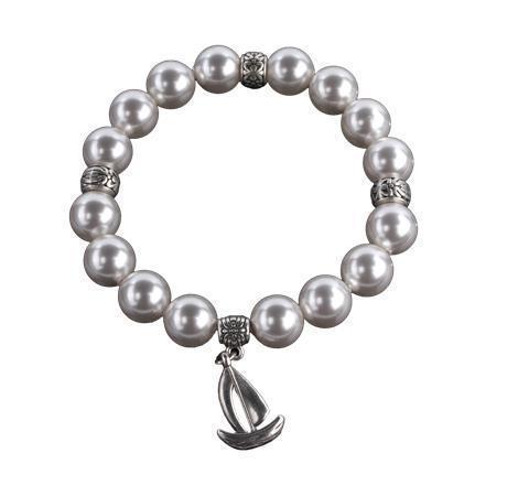 Náramek s perlami Swarovski, perleťově bílá, s přívěškem loďky, M, ART CRYSTELLA