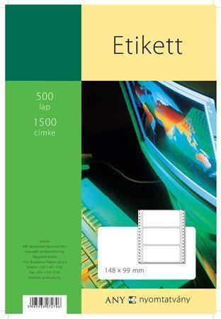 Tabelační etiketa, jednořadé, 148x99 mm, 1500ks/bal., ÁLLAMI NYOMDA Počet kusů v balení: 500