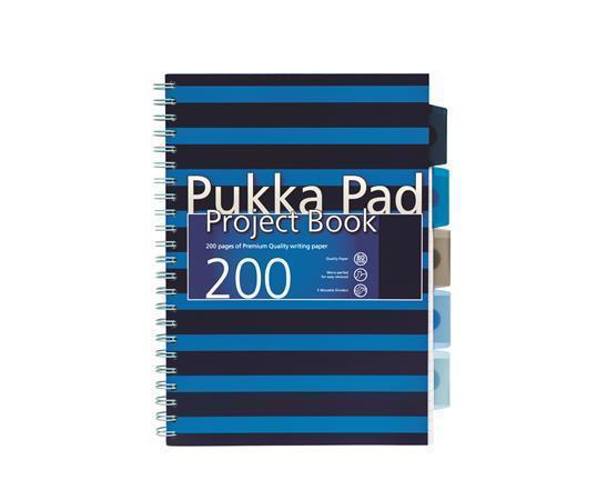 """Blok s rozdělovači """"Navy project book"""", A4, modrá, čtverečkovaný, 100 listů, spirálová vazba, PUKKA"""