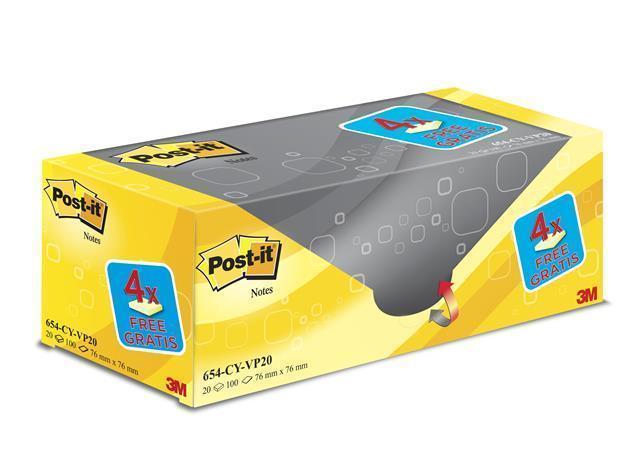 """Samolepicí bloček """"Super Sticky"""", žlutá, 76x76 mm, 20x100 lístků, 3M POSTIT Počet kusů v balení: 2000"""