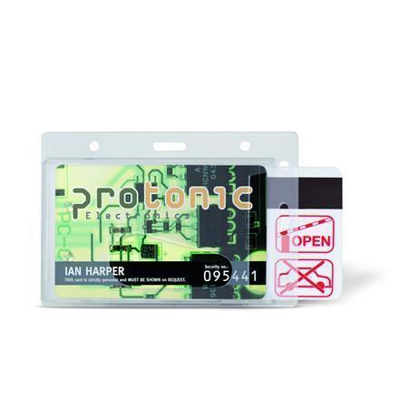Visačka na identifikační kartu, plastová, vodorovná, 71x105 mm, 3L