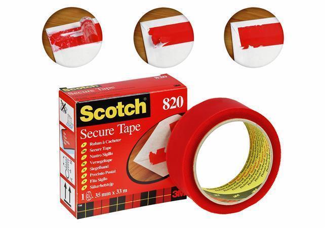 Lepicí páska, červená, 35 mm x 33 m, bezpečnostní, 3M SCOTCH
