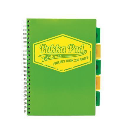"""Blok """"Project book Neon"""", zelená, A4, linkovaný, 100 listů, spirálová vazba, PUKKA PAD"""