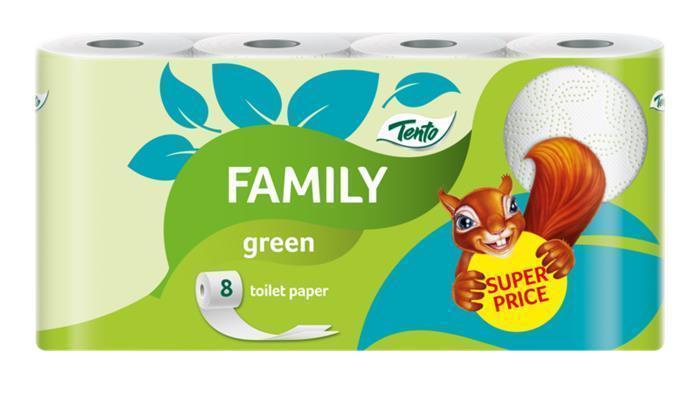 """Toaletní papír """"Family"""", žlutá, 2 vrstvé, 8 rolí, TENTO"""