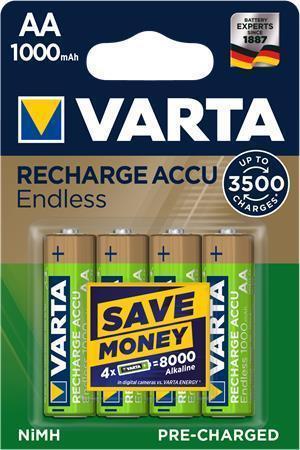 """Nabíjecí baterie """"Endless Energy"""", AA, 4x1000 mAh, přednabité, VARTA"""
