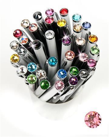 """Kuličkové pero,  SWAROVSKI® Crystals, černá, 14cm """"Elegante"""", krystal světle lososová"""