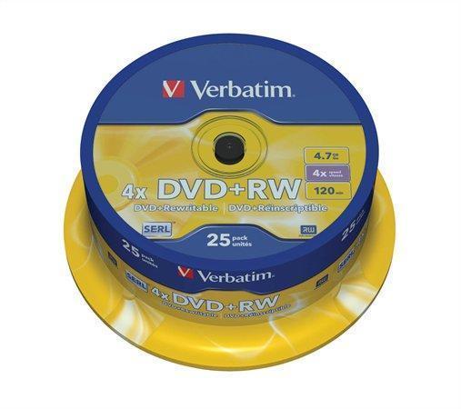 DVD+RW, 4,7GB, 4x, Verbatim, 25-cake