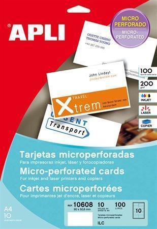 Vizitky, mikroperforované, 90 x 50,8mm, 250g, APLI