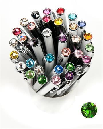 """Kuličkové pero,  SWAROVSKI® Crystals, černá, 14cm """"Elegante"""", krystal spring zelená"""
