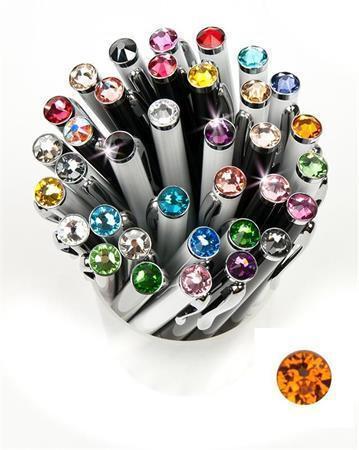 """Kuličkové pero,  SWAROVSKI® Crystals, bílá, 14cm """"Elegante"""", krystal oranžová"""
