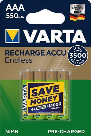"""Nabíjecí baterie """"Endless Energy"""", AAA, 4x550 mAh, přednabité, VARTA"""