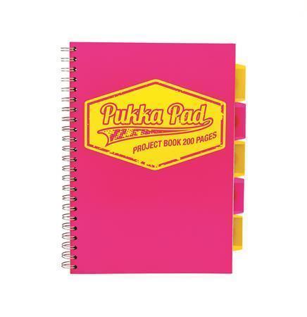 """Blok """"Project book Neon"""", růžová, A4, linkovaný, 100 listů, spirálová vazba, PUKKA PAD"""