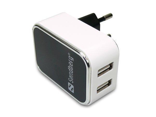 Síťová nabíječka, 2x USB , univerzální, 2400 mAh / 1000 mAh, SANDBERG