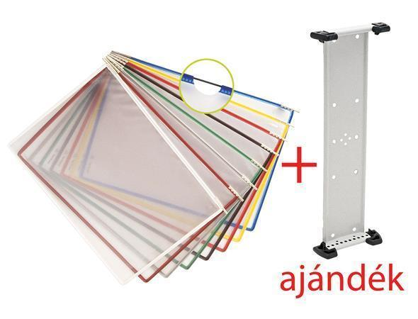 Presentation pocket, A4, steel frame, TARIFOLD, red, with free wall holder