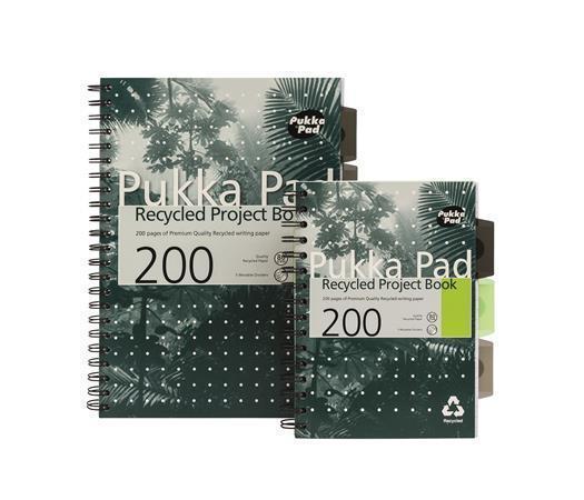 Blok, A4, recyklovaný, linkovaný, 100 listů, spirálová vazba, PUKKA PAD